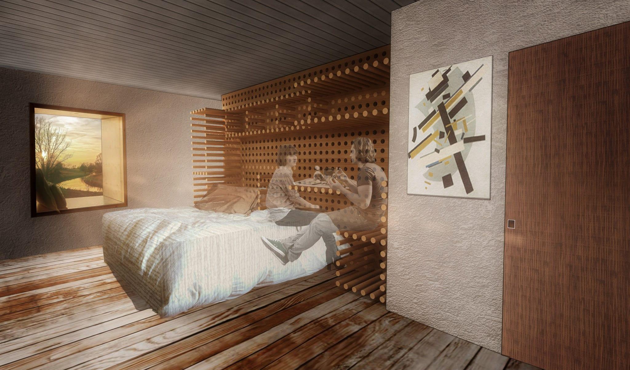 Mobiliario flexible con varillasWallflex equipar la cama