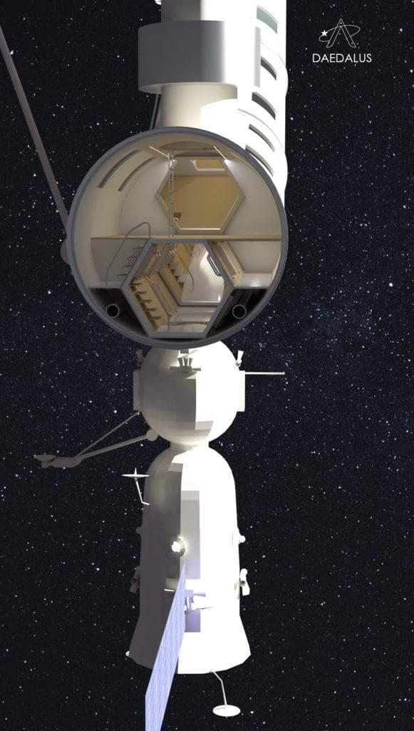 Conexión entre la nave Soyuz y la Daedalus