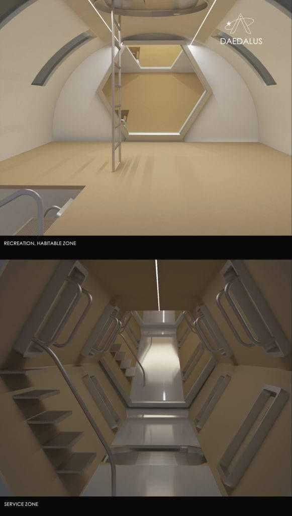 Interior de hábitat espacial autoconstruible para el asentamiento humano en el espacio