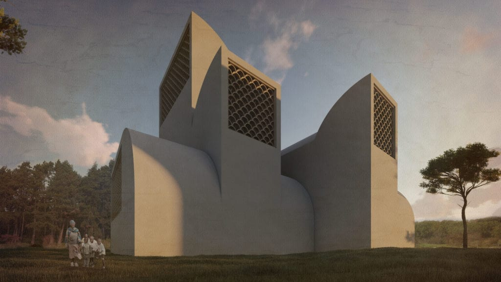 Exterior posterior rwanda chapel