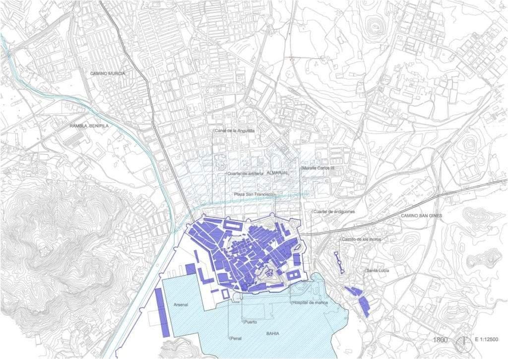 Trama urbana de Cartagena 1800