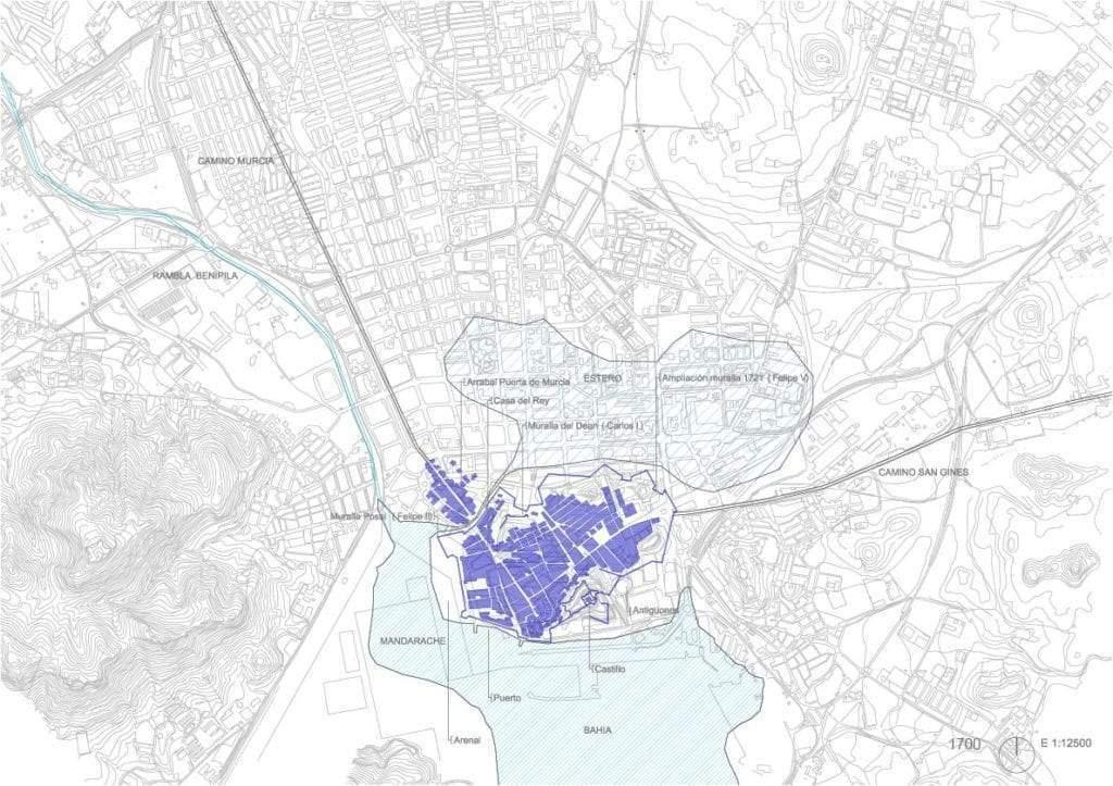 Trama urbana de Cartagena s. xviii