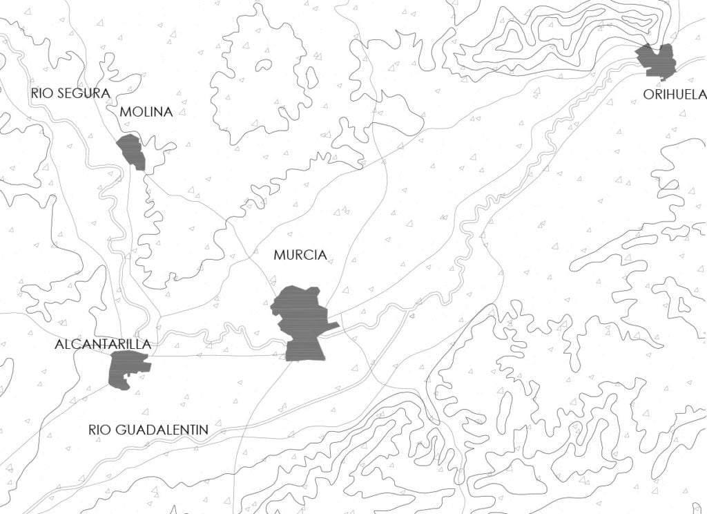 Plano de situación de Murcia en el valle del río Segura